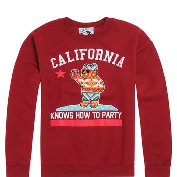 Riot Society Cali Know Tribal Crew Fleece - Mens Hoodie - Maroon