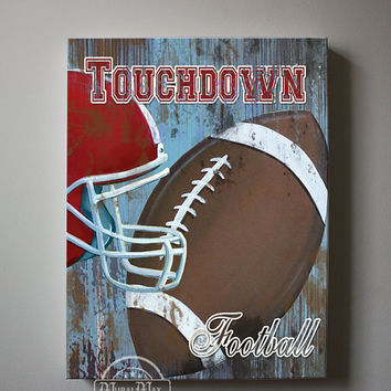 Football Canvas Art, Sports Nursery Canvas Art , Sports Nursery Decor,   Boys Room  Sports Art