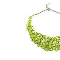 Collar Necklace Lime Green Lacy Statement Choker Spring Chartreuse Bronze Wire Art Jewelry