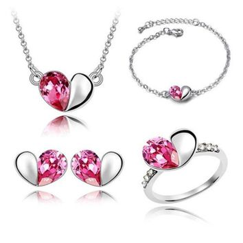 VONGB5 Crystal hearts Jewelry Necklace + earrings + bracelet + ring   #1088 (4 pcs) = 1931622724