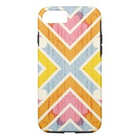 Abstract Colorful Pastel Hearts Chevron Pattern iPhone 7 Case