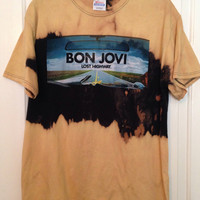 Bleached, tie dyed unisex Bon Jovi shirt size large ...one of a kind t shirt