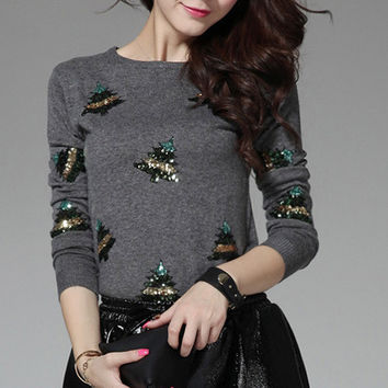 Gray Sequined Christmas Tree Sweater