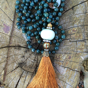 Long tassel necklace amazonite focal and bloodstone beads, rhinestones, czech glass, mother of pearl closure