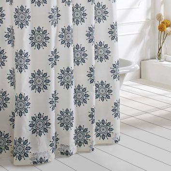 Mariposa - Indigo - Medallion Motif - Shower Curtain