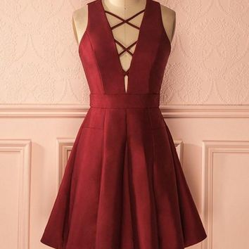 Red Deep V Neck Simple Homecoming Dress