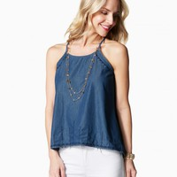 Embroidered Chambray Top | Charming Charlie