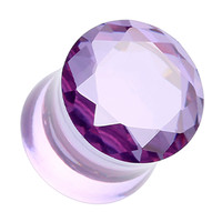 Faceted Crystalline Glass-Gem Double Flared Ear Gauge Plug
