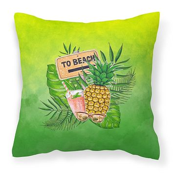 To the Beach Summer Fabric Decorative Pillow BB7450PW1818