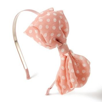 Lightweight Pink & White Polka Dot Bow Headband – Claire's