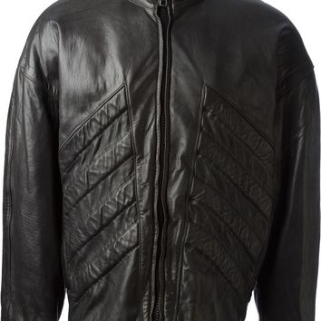Gianni Versace Vintage ribbed panel leather jacket