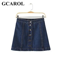 GCAROL 2017 Women New A-Line Denim Skirts Single Breasted Jeans Skirts High Quality Jeans Skirt Fashion Casual For 4 Season