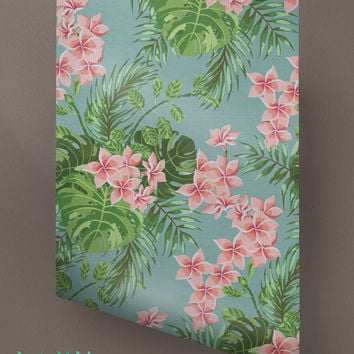 Tropical Pattern Wallpaper - Removable Wallpaper - Tropical Wallpaper - Exotic Wall Sticker - Exotic Wall Decal -Tropical Adhesive Wallpaper