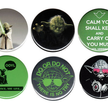 """Yoda Star Wars Pack Of 6 Pinback Buttons Badges Pins Set 44mm 1.75"""""""