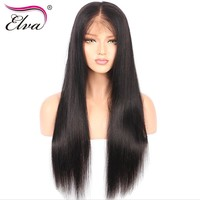 "Elva Hair 180% Density 360 Lace Frontal Wigs Pre Plucked With Baby Hair 10""-22"" Natural Color Brazilian Remy Hair Straight Wigs"