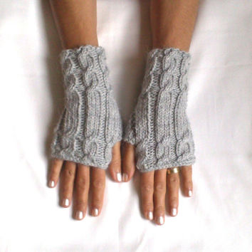 95 Cashmere glove grey or Red fingerless gloves cozy luxury gloves cable gloves gray red gloves armwarmers super soft