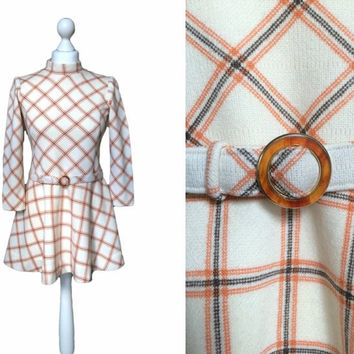 1960's Micro Mini Dress - 60's Vintage Dress - Ivory And Orange Check Dress - Mod Retro Skater Dress - XS - Belted Minidress