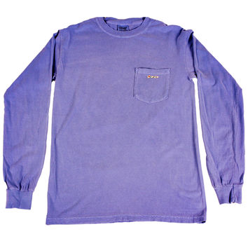Longshanks Sewn Patch Long Sleeve Pocket Tee Shirt in Flo Blue by Country Club Prep