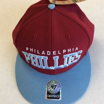 47 BRAND PHILADELPHIA PHILLIES RETRO SKY BRIM SNAPBACK ADJUSTABLE HAT