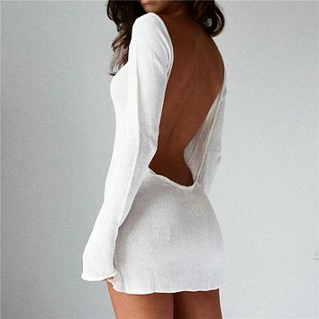 Women Solid Color Fashion Backless Long Sleeve Mini Dress