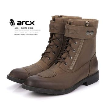 ARCX Brown Motorcycle Leather knight Riding Boots Casual Retro Scooter Shoes Drop Resistance Mid-calf MOTO Boots