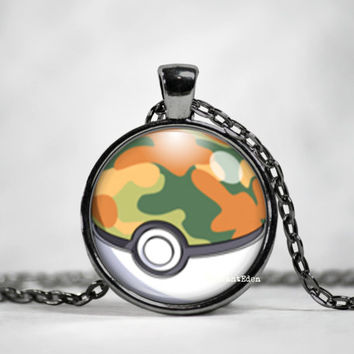 Safari Ball Pokeball Pendant, pokemon go, pokemon jewelry, pokemon necklace, japanese anime, fan art,pokeball necklace