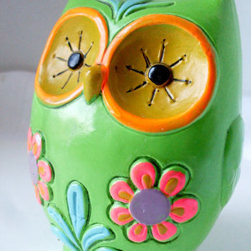 Vintage Owl Bank Mod Bright Green