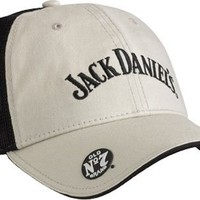 Jack Daniels Men's A-Flex Fit Baseball Cap Stone Cotton & Black Mesh. JD77-67