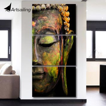 Artsailing HD printed 3 piece canvas art Buddha painting Wall Art Modular Picture For Living Room Buddha canvas QT017