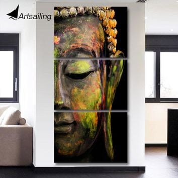 HD printed 3 piece canvas art Abstract Buddha painting Modern home decor Wall Art Picture For Living Room Modular picture QT017