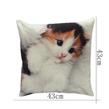 New Pillow Cover 43x43CM Lovely Cat Design Pillow Case Mat Cotton Linen Throw Square Pillowcases for Home Room Decoration