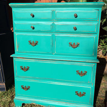 Tall Boy Aqua Dresser Chest of Drawers - SOLD!!!