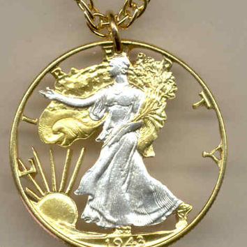 Beautifully Cut out & 2-toned old U.S. Half Dollar - coin Necklace