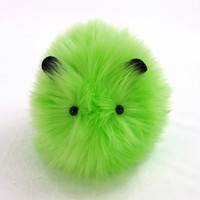 Little Gremlin Stuffed Lime Green Faux Fur Guinea Pig Toy Plushie Medium Size