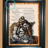 Colored Bengal Tiger - - Vintage Dictionary Book Page Art-Upcycled Page Art,Wall Art,Collage Art, Royal Tiger, Wildlife Print