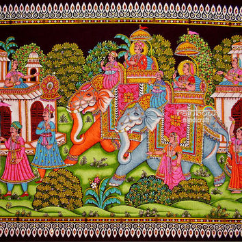 ethnic elephant sequin wall hanging hand painted cotton royal king rider tapestry batik tradtional decor asian Indian handicraft art