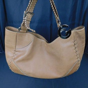 Authentic Vintage Leather Gucci Beige Woman Shoulder Bag