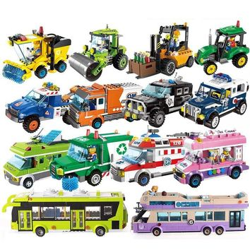 City Girls Princess Outing Bus Car Building Blocks City police Bricks Model Kids Classic Toys Compatible Legoings Friends Gift