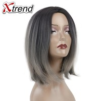 Xtrend 10inch Ombre Short Bob Hair Wigs For Women Synthetic Wig Adjustable High Temperature Fiber Grey Bug Cosplay Wig
