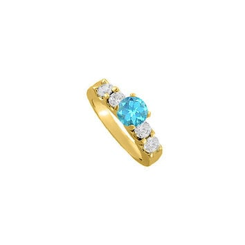 December Birthstone Blue Topaz and CZ Elegant Engagement Ring in Yellow Gold Vermeil Great Price: RS4