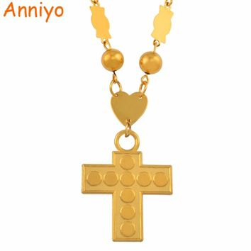 Anniyo Marshall Islands Necklaces Beads Chains Micronesia Cross Pendant for Women Gold Color Fashion Hawaii Guam Jewelry #136306