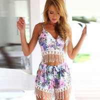 Print V-Neck Tassel Top And Short Two Piece Set