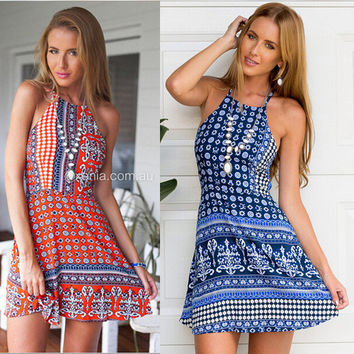 Womens Casual Summer Sexy Halter Print Sling Dress