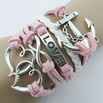 women girl arrive Infinity Double Heart Anchor Leather Cute Charm Bracelet Silver DIY bangles Teast CF
