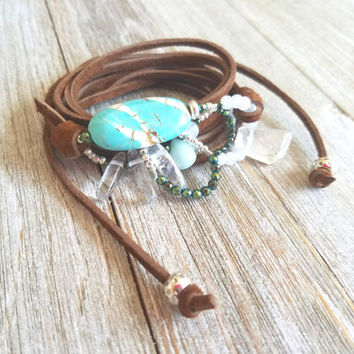 Suede Leather Wrap Necklace-Leather Wrap Bracelet-Gemstones Choker Necklace-Leather Lariat Necklace-Bolo Choker-Bohemian Gypsy Necklace