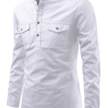 Men's Modern Fit Mandarin Safari Pocket Henley Shirt