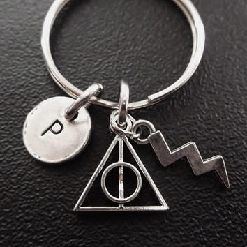 Harry Potter inspired Deathly Hallows keyring, keychain, bag charm, purse charm, monogram personalized custom gifts under 10 item No.276