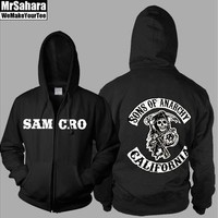 Sons of Anarchy Samcro Thickening Cotton-padded Jacket SOA Winter Warm Hoodie Flannel Coats Soft Comfort Cashmere Sweatshirts [8323329921]