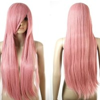 HealthTop 80cm Long Straight Lovely Pink Heat Resistance Cosplay Wig Anime Show & Fancy Dress Party & Performance Hair Full Wigs