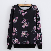 Printed round neck long-sleeved sweater